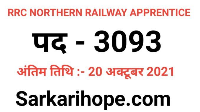 RRC Northern Railway Apprentice Online Form 2021